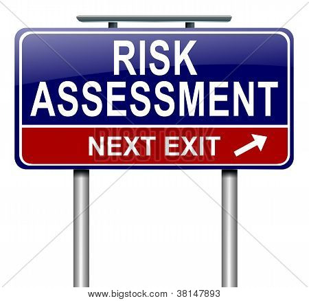 Illustration depicting a roadsign with a risk assessment concept. White background. poster