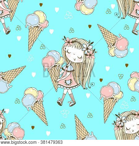 Seamless Pattern With A Cute Little Girl With Ice Cream On A Blue Background. Vector