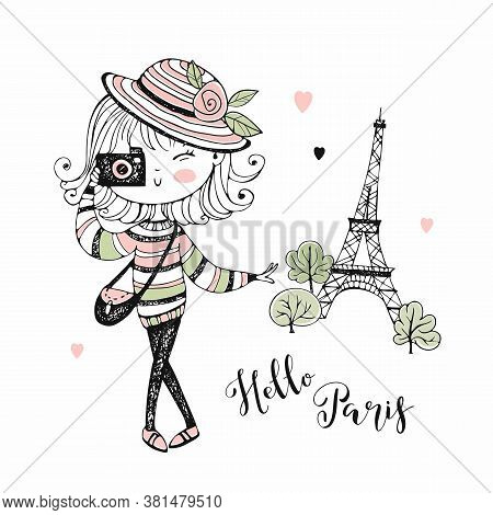 Cute Girl With A Camera In Paris. Travel. Vector.