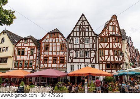Limburg, Hessen / Germany - 1 August 2020: People Enjoying A Summer Day In The Restaurants On Bischo