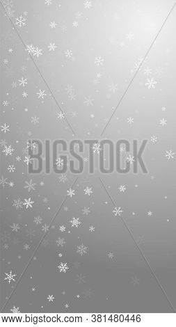 Sparse Snowfall Christmas Background. Subtle Flying Snow Flakes And Stars On Grey Background. Amusin