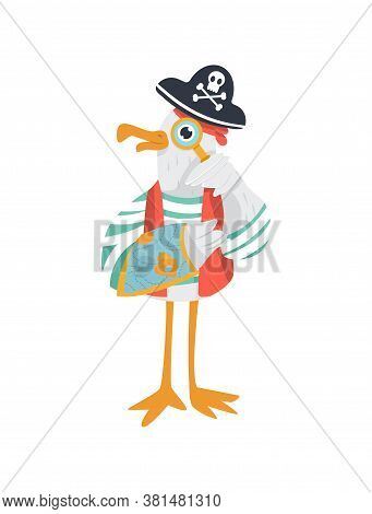 Funny Vector Pirate With Magnifying Glass And A Map Of Treasures. Seagull In Cocked Hat And Striped