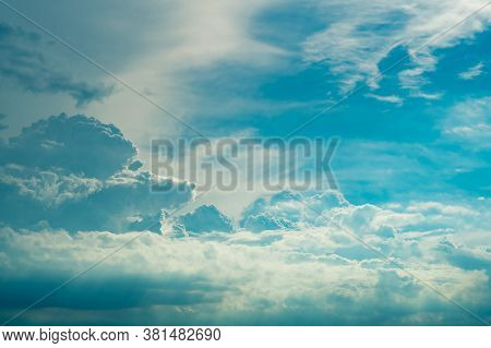 Heaven Sky And White Clouds. Blue Sky And White Fluffy Clouds With Sun Light. Beautiful Natural Patt