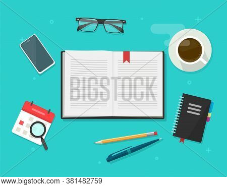 Book Or Notebook Diary Open On Learning Desk Table Top Vector, Textbook Text Pages, Reading Notepad