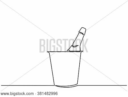 Champagne Bottle In Bucket And Glasses One Line Vector Illustration Minimalism Style. Drawing Of A C
