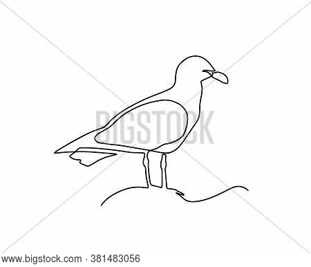 One Single Line Drawing Of Wild Seagull. Cute Bird Mascot Concept For Conservation National Park Sym