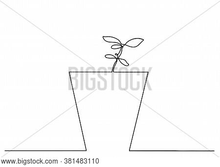 Continuous One Line Drawing. House Plant In Pot. Vector Illustration.one Line Drawing House Plant In