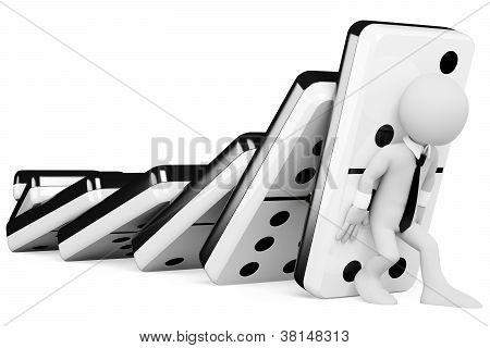 3D Business White People. Stopping A Chain Reaction Of Dominoes Falling