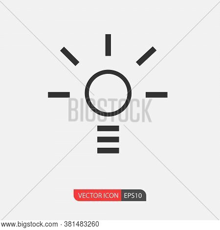 Idea, Solution, Lumen, Light Bulb Icon Vector Isolated On White Background. Light Bulb Linear Vector