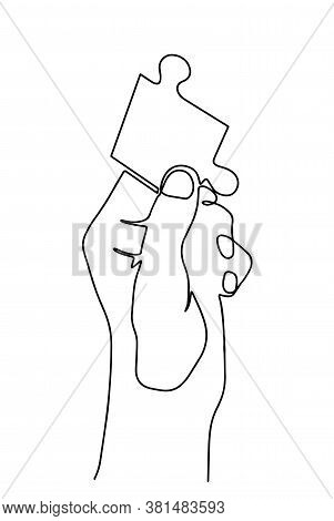 Hand Holding A Piece Of Puzzle Vector Icon In Meaning Finding Solution- Continuous Line Drawing. Con