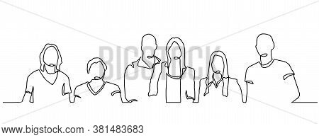 Group Of People Continuous One Line Vector Drawing. Family, Friends Hand Drawn Characters.. Women An