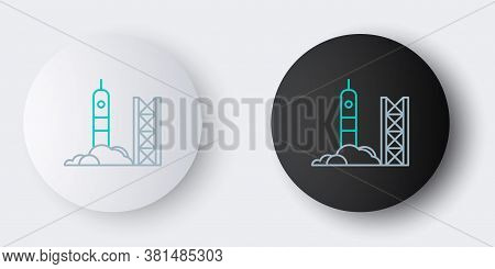 Line Rocket Launch From The Spaceport Icon Isolated On Grey Background. Launch Rocket In Space. Colo