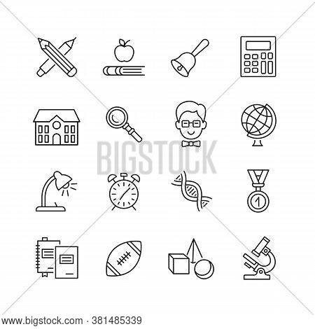 School Line Icon Set. Education Flat Signs. Back To School Pictograms On Subjects And Equipment. Edi