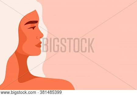 Side View Face Of A Young Strong Caucasian Woman With Blond Hair. Concept Of Fighting For Equality A