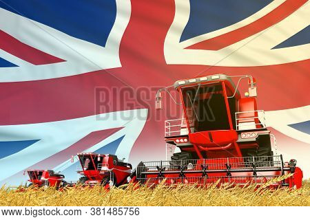 Industrial 3d Illustration Of Red Farm Agricultural Combine Harvester On Field With United Kingdom (