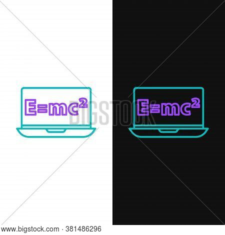 Line Math System Of Equation Solution On Laptop Icon Isolated On White And Black Background. E Equal