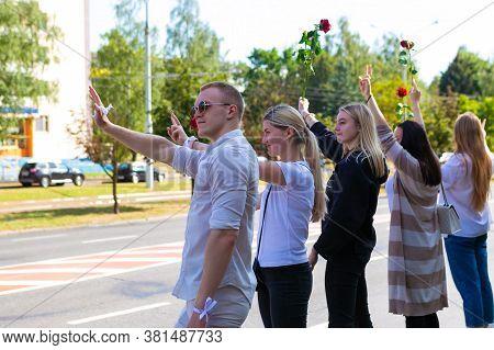 Minsk/ Belarus - August 15, 2020: Peaceful Protests In Belarus. Presidential Elections In Belarus 20