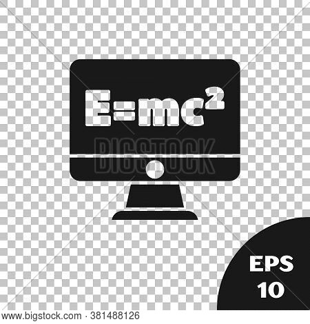 Black Math System Of Equation Solution On Computer Monitor Icon Isolated On Transparent Background.