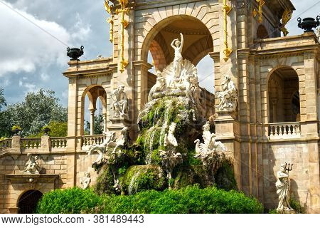 Statue On Monumental Cascade Fountain In Barcelona Called