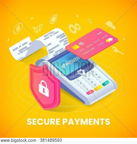Secure Contactless Payments Via Credit Card Isometric Vector Banner Concept. 3d Payment Machine Prin