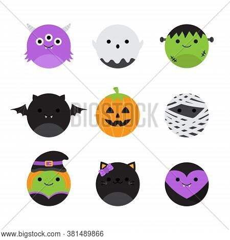 Cute Halloween Round Vector Characters. Circle Spooky Collection. Spooky, Scary Cartoon Illustration