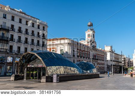 Madrid, Spain - August 15, 2020: Puerta Del Sol, Gate Of The Sun, And Subway Station In Madrid. Empt