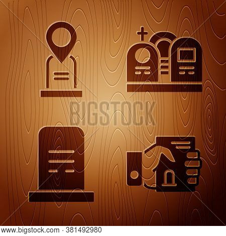 Set Death Certificate In Hand, Location Grave, Grave With Tombstone And Grave With Tombstone On Wood