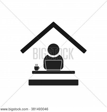 Remote Work From Home Office Flat Vector Icon. Black Editable Symbol Of Man Sitting At The Desk With