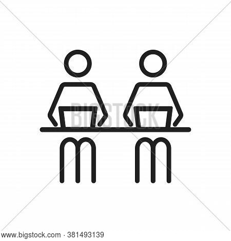 Remote Co Worker At The Desk At The Coworking Office Boardroom Vector Editable Line Icon. Stroke Sty