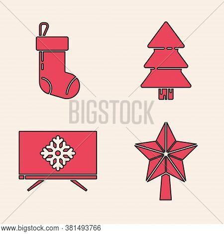 Set Christmas Star, Christmas Stocking, Christmas Tree And Merry Christmas On Television Icon. Vecto