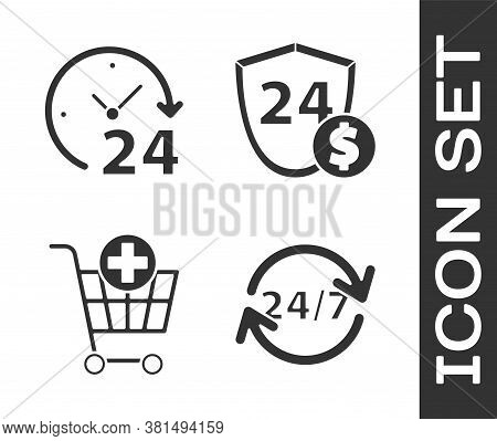 Set Clock 24 Hours, Clock 24 Hours, Add To Shopping Cart And Shield With Dollar Icon. Vector