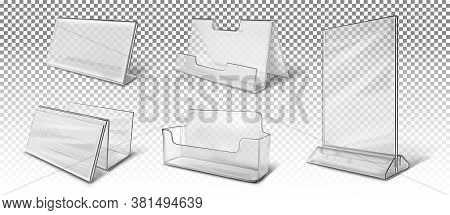 A Big Set Of Different Business Card Holders, Stands For Brochures, Advertising. Vector 3d Realistic