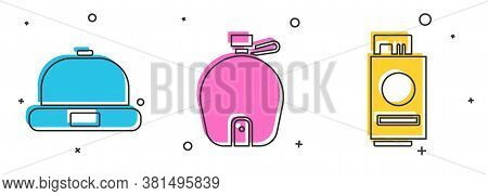 Set Beanie Hat, Canteen Water Bottle And Passport With Ticket Icon. Vector