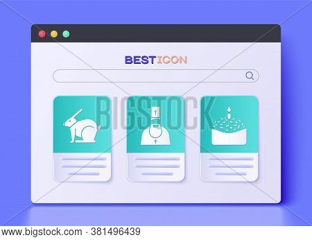 Set Priest, Easter Rabbit And Easter Cake And Candle Icon. Vector
