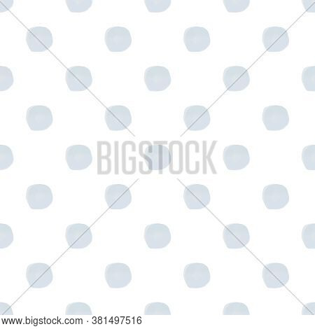 Seamless Blue Watercolor Polka Dot Pattern On White Background In Nordic Style. Elegant Print For Fa