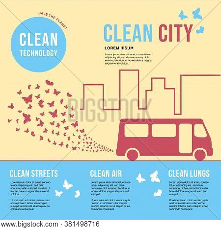 Environmentally Friendly Bus In The City. Exhaust Fumes In The Form Of A Cloud Of Butterflies. Envir