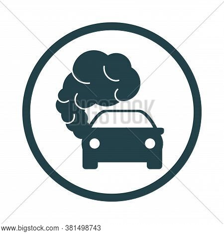 Car Icon With Exhaust Gases. Exhaust Fumes. Environmental Pollution. Smog.