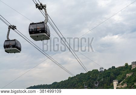 Koblenz, Rp / Germany - 1 August 2020: View Of The Koblenz Cable Car Transporting Tourists Across Th