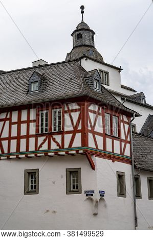 Limburg, Hessen / Germany - 1 August 2020: A View Of The Well-kept Old Town Buildings And Roofs In T