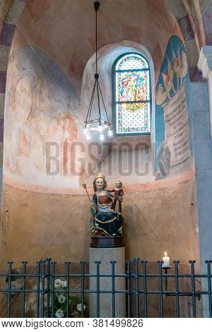 Limburg, Hessen / Germany - 1 August 2020: Interior View Of The Historic Limburg Cathedral With A Vi