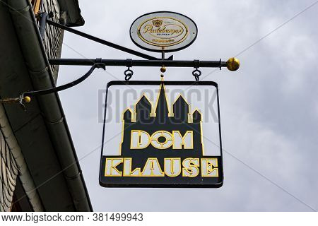 Limburg, Hessen / Germany - 1 August 2020: Gilded Metal Sign Of The Historic Dom Klause Restaurant N