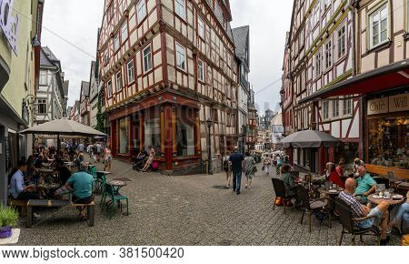 Limburg, Hessen / Germany - 1 August 2020: People Enjoying A Summer Day In The Old City Of Historic
