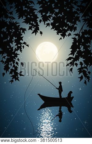 Fisherman In Boat With Dog On Moonlight Night. Man Silhouette Catch Fish With Fishing Rod Framed By
