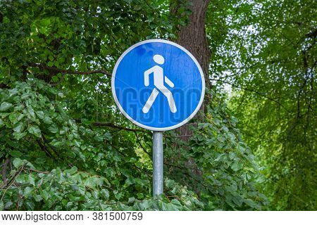 Footpath. A Blue Warning Sign Stands In The Thicket Of Green Trees