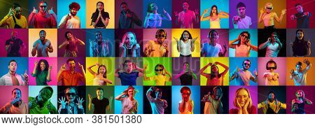 Collage Of Portraits Of 30 Young Emotional People On Multicolored Background In Neon. Concept Of Hum