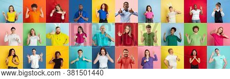 Collage Of Portraits Of 28 Young Emotional People On Multicolored Background. Concept Of Human Emoti