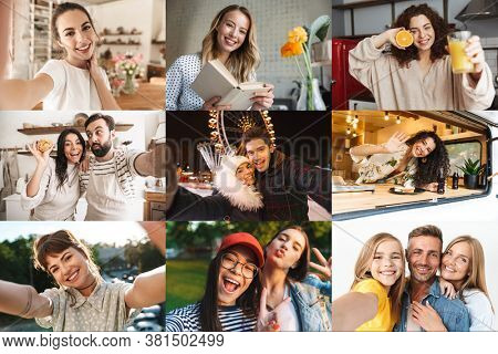 Collage image of different happy caucasian people looking at camera