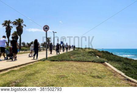 Walking Promenade Of One Of The Tel Aviv Mediterranean Beaches During The Coronavirus (covid-19) Qua