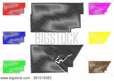 Dewitt And Douglas County, Illinois (u.s. County, United States Of America, Usa, U.s., Us) Map Vecto