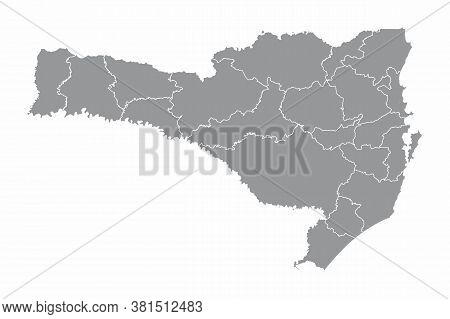 The Santa Catarina State Divided In Regions Isolated On White Background, Brazil